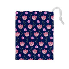 Watercolour Flower Pattern Drawstring Pouches (Large)