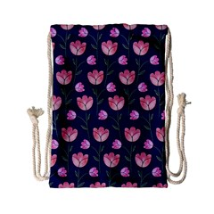 Watercolour Flower Pattern Drawstring Bag (Small)