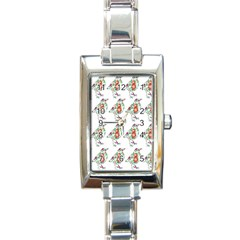 Floral Birds Wallpaper Pattern On White Background Rectangle Italian Charm Watch