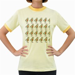 Floral Birds Wallpaper Pattern On White Background Women s Fitted Ringer T-Shirts