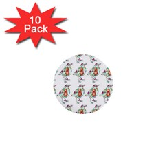 Floral Birds Wallpaper Pattern On White Background 1  Mini Buttons (10 pack)