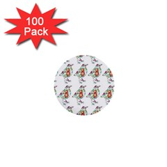 Floral Birds Wallpaper Pattern On White Background 1  Mini Buttons (100 pack)