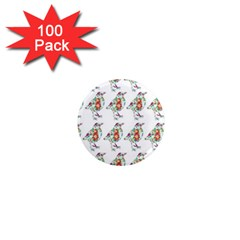 Floral Birds Wallpaper Pattern On White Background 1  Mini Magnets (100 pack)