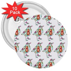 Floral Birds Wallpaper Pattern On White Background 3  Buttons (10 pack)
