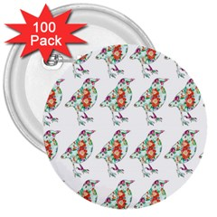 Floral Birds Wallpaper Pattern On White Background 3  Buttons (100 pack)