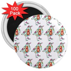 Floral Birds Wallpaper Pattern On White Background 3  Magnets (100 pack)