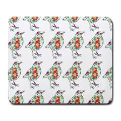 Floral Birds Wallpaper Pattern On White Background Large Mousepads