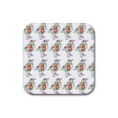Floral Birds Wallpaper Pattern On White Background Rubber Coaster (Square)