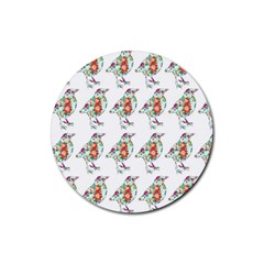Floral Birds Wallpaper Pattern On White Background Rubber Round Coaster (4 Pack)