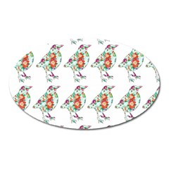 Floral Birds Wallpaper Pattern On White Background Oval Magnet