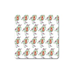 Floral Birds Wallpaper Pattern On White Background Square Magnet
