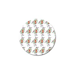 Floral Birds Wallpaper Pattern On White Background Golf Ball Marker (10 Pack)