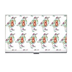 Floral Birds Wallpaper Pattern On White Background Business Card Holders