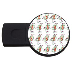 Floral Birds Wallpaper Pattern On White Background USB Flash Drive Round (1 GB)