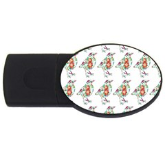 Floral Birds Wallpaper Pattern On White Background USB Flash Drive Oval (2 GB)