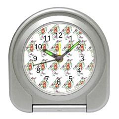 Floral Birds Wallpaper Pattern On White Background Travel Alarm Clocks