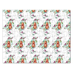 Floral Birds Wallpaper Pattern On White Background Rectangular Jigsaw Puzzl