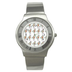 Floral Birds Wallpaper Pattern On White Background Stainless Steel Watch