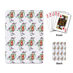 Floral Birds Wallpaper Pattern On White Background Playing Card