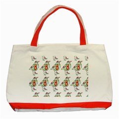 Floral Birds Wallpaper Pattern On White Background Classic Tote Bag (Red)