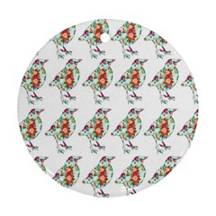 Floral Birds Wallpaper Pattern On White Background Round Ornament (Two Sides)
