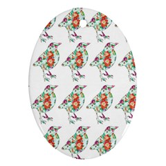 Floral Birds Wallpaper Pattern On White Background Oval Ornament (Two Sides)