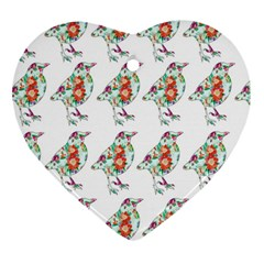 Floral Birds Wallpaper Pattern On White Background Heart Ornament (Two Sides)