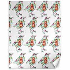 Floral Birds Wallpaper Pattern On White Background Canvas 12  x 16