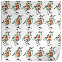 Floral Birds Wallpaper Pattern On White Background Canvas 16  x 16