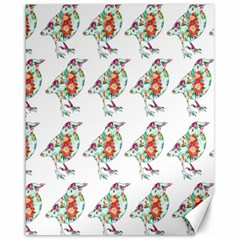 Floral Birds Wallpaper Pattern On White Background Canvas 16  X 20