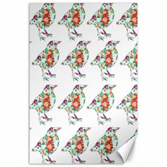 Floral Birds Wallpaper Pattern On White Background Canvas 24  x 36