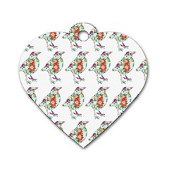 Floral Birds Wallpaper Pattern On White Background Dog Tag Heart (Two Sides)