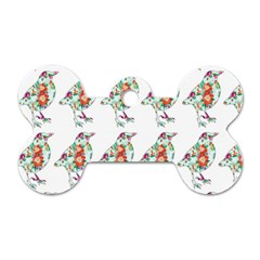 Floral Birds Wallpaper Pattern On White Background Dog Tag Bone (Two Sides)
