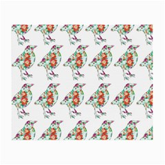 Floral Birds Wallpaper Pattern On White Background Small Glasses Cloth (2-Side)
