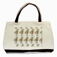 Floral Birds Wallpaper Pattern On White Background Basic Tote Bag (Two Sides)