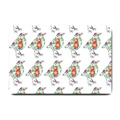 Floral Birds Wallpaper Pattern On White Background Small Doormat
