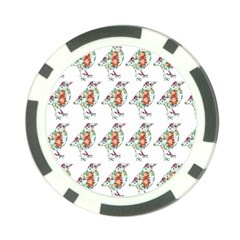 Floral Birds Wallpaper Pattern On White Background Poker Chip Card Guard
