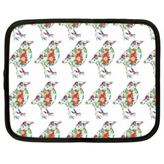 Floral Birds Wallpaper Pattern On White Background Netbook Case (Large)