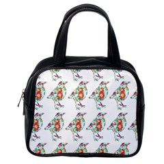 Floral Birds Wallpaper Pattern On White Background Classic Handbags (one Side)