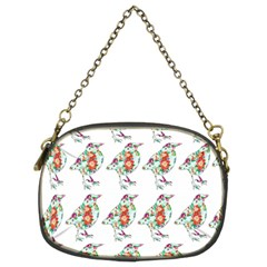 Floral Birds Wallpaper Pattern On White Background Chain Purses (Two Sides)