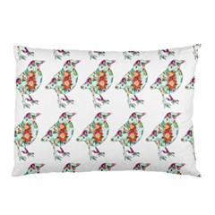 Floral Birds Wallpaper Pattern On White Background Pillow Case