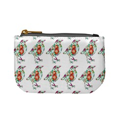 Floral Birds Wallpaper Pattern On White Background Mini Coin Purses