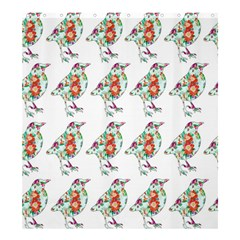 Floral Birds Wallpaper Pattern On White Background Shower Curtain 66  X 72  (large)