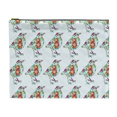 Floral Birds Wallpaper Pattern On White Background Cosmetic Bag (XL)