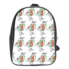 Floral Birds Wallpaper Pattern On White Background School Bags(Large)
