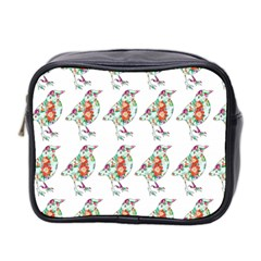 Floral Birds Wallpaper Pattern On White Background Mini Toiletries Bag 2-Side