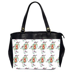Floral Birds Wallpaper Pattern On White Background Office Handbags (2 Sides)