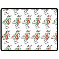 Floral Birds Wallpaper Pattern On White Background Fleece Blanket (Large)