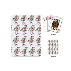 Floral Birds Wallpaper Pattern On White Background Playing Cards (Mini)