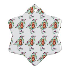 Floral Birds Wallpaper Pattern On White Background Ornament (snowflake)